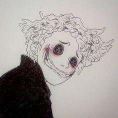 Other Wybie from Coraline Creepy Drawings, Dark Art Drawings, Creepy Art, Art Drawings Sketches, Cool Drawings, Creepy Sketches, Dark Art Paintings, Random Drawings, Cute Paintings