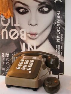 25%OFF Vintage French Telephone 10 buttons Touch Tone Brown and khaki color with a Mother-in Law listener