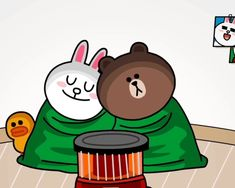 cony and brown gif Cony Brown, Brown Bear, Bear Gif, Chibi Cat, Bunny And Bear, Line Love, Quotes Gif, Line Friends, Gif Pictures