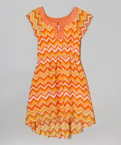 Another great find on #zulily! Orange & Yellow Zigzag Skater Dress - Girls by Cool and Cute #zulilyfinds