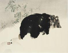 "huariqueje:  ""  Bear In Snow - Takeuchi Seiho , 1940  Japanese, 1864 – 1942  """