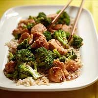 Sesame Chicken with Broccoli Stir-Fry.  ellie kreiger recipe.  kids loved it.  lots of bowls for mixing but its fast to make.
