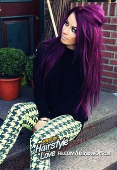 Purple/Pink bright colored hair, Love it!