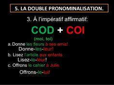 5. LA DOUBLE PRONOMINALISATION. 3. À l'impératif affirmatif: COD + COI (moi, toi)a. Donne ...
