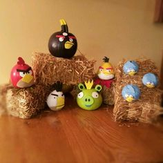 angry birds pumpkins for halloween! made these using paint and foam and hot glue, used little pumpkins and gourds! - i actually made them so there is no link.