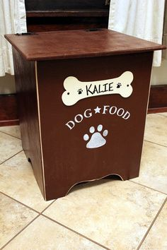 Wooden Dog Food Bin By CollegeViewCrafts On Etsy Maybe Next Years Gift For  The Grandpups?
