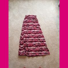 Maxi skirt Colors: pink, brown, black    Condition: like new    How often worn: a handful of times    Flaws: no visible flaws    Fit: true to size    How to wear: cute summery blouse with sandals Skirts Maxi