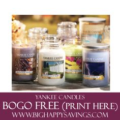 Yankee Candles BOGO FREE (Print Coupon Here)  Click on the link below to find out more about this deals.  Check out http://www.bighappysavings.com to find more money saving deals  #BigHappySavings, #CouponCommunity, #Freebies, #OnlineDeals