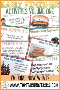 "These forty Early Finishers Activities Task Cards are a great way to answer the classroom question, ""I'm Done. Early Finishers Activities, Enrichment Activities, Physics Classroom, Primary Classroom, Classroom Behavior, Maths, Persuasive Writing, Writing Rubrics, Paragraph Writing"