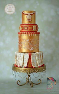 Gold and red opulent wedding cake Beautiful Wedding Cakes, Beautiful Cakes, Amazing Cakes, Royal Cakes, Metal Cake Stand, Silver Cake, Food Artists, Couture Cakes, Engagement Cakes