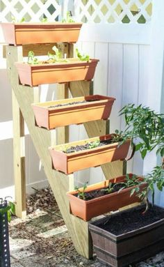 use stair frame to support long planters