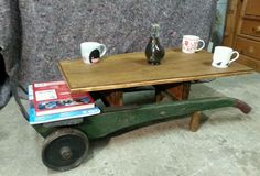 Vintage Industrial Coffee Table- Trolley, Trucks, Rustic, Upcycle, Naive. in Home, Furniture & DIY, Furniture, Tables | eBay!