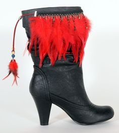 BootDazzle Deanna is perfect for so many teams red hackle feathers with black trim. College- UofL, Ohio State, UGA, etc. Pro - Arizona Cardinals or Atlanta Falcons.  Order now & receive 50% OFF!