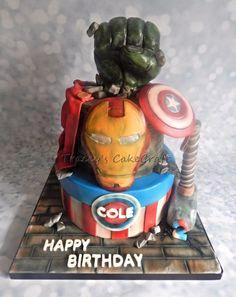 Cpt America, Thor, Ironman, Hulk. 2 tier Avengers birthday cake. RKT fist