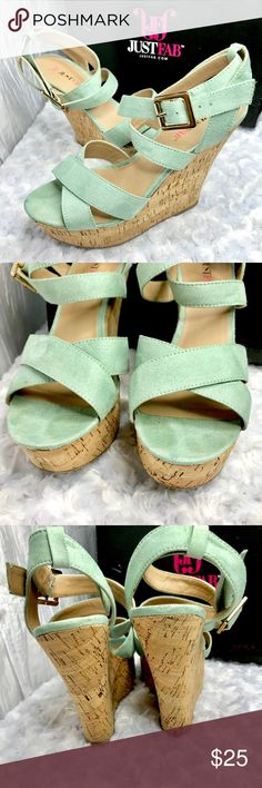"""JustFab Lexa Vegan Suede Wedge Platform Sandals JustFab Lexa Vegan Suede Strap Platform Sandals Color is Seafoam Green. A summer classic reaches brave new heights. An ankle strap makes them extra flattering, while a buckle ensures they're ultra-comfortable. Faux suede. Strappy Sandals. Platform Sandal. Cork Wedge. Large Buckle.   Shoe Details Approx. Heel Height: 5"""" Approx. Platform Height: 1 1/2"""" Synthetic Upper Man Made Sole Imported JustFab Shoes Sandals"""