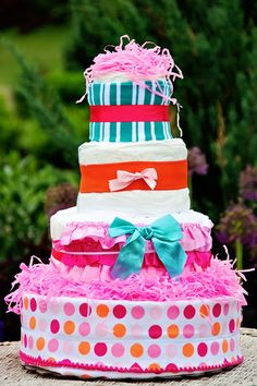 All Diaper Cakes - Ruffles and Dots Pink Diaper Cake, $139.95 (http://alldiapercakes.com/ruffles-and-dots-pink-diaper-cake/)