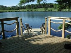 Waterside Dock with Rope Railing