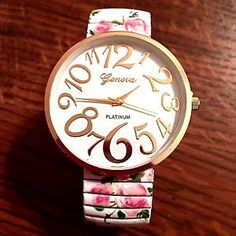 New Geneva Gold Flowers White Easy to Read Stretch Band Watch | eBay