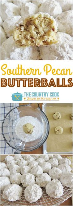 Southern Pecan Butterballs are known by many names: Snowball Cookies, Mexican Wedding Cookies, Russian Tea Cakes and Danish Wedding Cookies! Snowball Cookies Pecan, Snowball Cake Recipe, Pecan Pie Cookies, Pecan Cake, Brownie Cookies, Southern Desserts, Pecan Desserts, Southern Food, Holiday Desserts