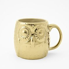 Figurative Owl Mug | West Elm and it is GOLD!  for my newly est. golden tea cup collection thanks to my biggest little boy <3