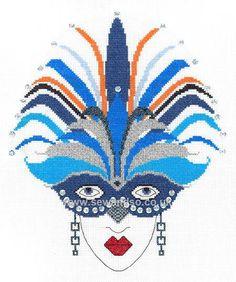 0 point de croix femme art deco et masque de plumes bleues - cross stitch art deco lady and mask of blue feathers