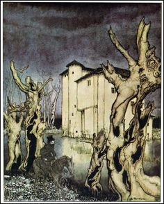 Arthur Rackham. The Fall of the House of Usher.