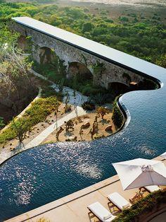 pool built into aqueduct