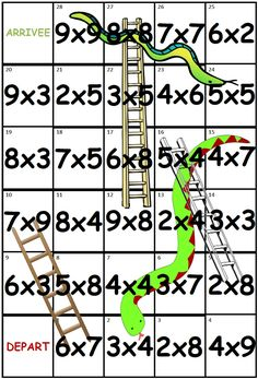 échelles et serpents : jeu de multiplication fichier modifiable
