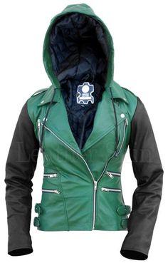Leather Skin Women Hoodie Green Brando Genuine Leather Jacket with Black Sleeves Plus Size Leather Jacket, Green Leather Jackets, Leather Jacket With Hood, Tracksuit Pants, Leather Skin, Layering Outfits, Black Leggings, Casual Looks, Hooded Jacket