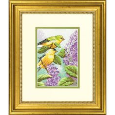 Cross Stitch Kit - Goldfinch and Lilacs by CrossStitchKitsOnly on Etsy