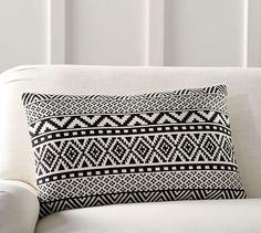 Gemma Jacquard Lumbar Pillow Cover | Pottery Barn