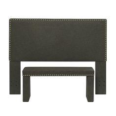 Portfolio Upton Charcoal Gray Linen Full/Queen Headboard and Bench Set   Overstock.com $239