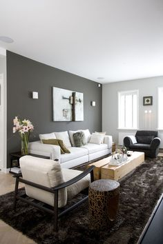 Living room, dark grey wall, light grey couch,