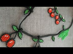 Bead Crafts, Jewelry Crafts, Diy And Crafts, Crochet Baby, Crochet Necklace, Make It Yourself, Beads, How To Make, Cherry