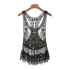 SheIn(sheinside) Black Lace Crochet Tank Top (245 MXN) ❤ liked on Polyvore featuring tops, black, lace cami, crochet tank, lace camisole, crochet top and lace cami tank