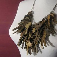 Key necklace rust old skeleton keys post apocalyptic rough chic fashion couture jewelry by dale