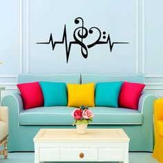 Music Puls Treble Clef   Bass Clef Heart Wall Decal by CozyDecal, $9.99
