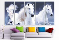 """XLARGE 30""""x 70"""" 5 Panels Art Canvas Print beautiful Horses white animals Wall Home Decor interior (Included framed 1.5"""" depth)"""