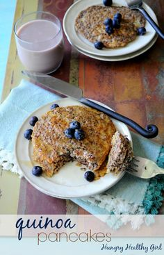 Quinoa Pancakes- super food pancakes with minimal ingredients. A great use for leftover quinoa too!Quinoa Pancakes- super food pancakes with minimal ingredients. A great use for leftover quinoa too! Quinoa Pancakes, Pancakes Easy, Quinoa Breakfast Bowl, Breakfast Pancakes, Breakfast Smoothies, Paleo Breakfast, How To Cook Quinoa, Cooked Quinoa, Love Food