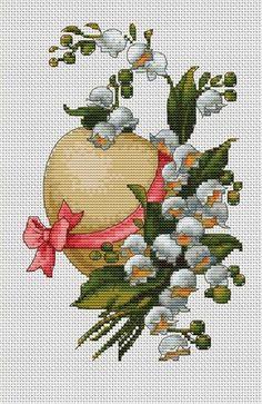 """Пасхальная композиция"" Easter Cross, Cross Stitch Flowers, Lily Of The Valley, Cross Stitch Charts, Cross Stitching, Poppies, Needlework, Decoupage, Arts And Crafts"
