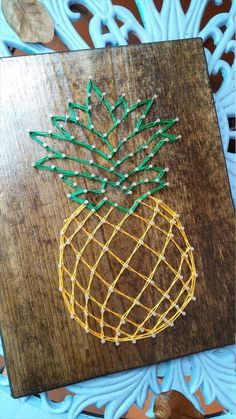 DIY Thrifty Pineapple Craft Idea – 100 + Ridiculously DIY Pineapple Crafts You W… - Best Decorations Cute Crafts, Crafts To Do, Arts And Crafts, String Art Diy, String Crafts, Resin Crafts, Cuadros Diy, Diy Gifts, Pineapple Craft