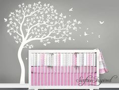Nursery Wall Decals White Tree Wall Decal Large Tree wall decal Wall Mural Stickers Nursery Tree and Birds Wall Art Nature Wall Decals Decor by SurfaceInspired on Etsy https://www.etsy.com/uk/listing/279498482/nursery-wall-decals-white-tree-wall