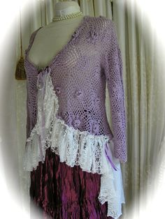 Lavender Crochet Sweater cottage shabby n chic by GrandmaDede @Etsy