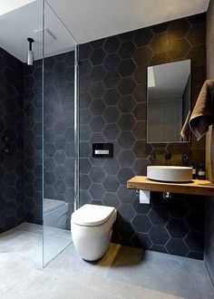 modern black hexagon bathroom tiles