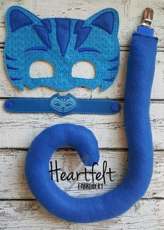 PJ Blue Bedtime Hero Mask, Tail and Bracelet Set * Blue Catboy * Party Favors, Birthdays, Playtime by TreasuredForever on Etsy https://www.etsy.com/listing/387045632/pj-blue-bedtime-hero-mask-tail-and