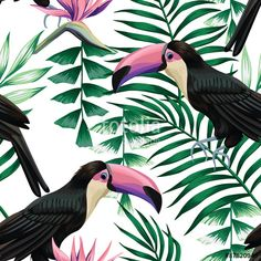 Wektor: toucan tropical pattern
