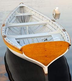 "Whitehall tender ""American Beauty"". Length: 14′ 10″ Beam: 4′ 2″ Draft: 14″ Designer: Rice Brothers, East Boothbay, Maine Builders: WoodenBoat School students, '93 & '94 Instructor: Greg Rössel Construction: Carvel planking with northern white cedar over white oak ribs Usual location: Mooring"
