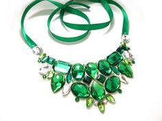 Green Rhinestone Bib Necklace, Summer, Fashion Accessory, Green Statement Necklace, Jeweled Bib, Emerald Green