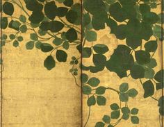 A six fold paper screen painted in ink and colour on a gold ground with trailing vines, Japan, 17th century, Edo period. Dimensions: (Height) 170 x 364 cm (67 x 143½ in.). Photo courtesy GREGG BAKER ASIAN ART
