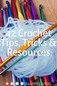 42 crochet tips, tricks and resources Here's a collection of crochet tips to make crocheting easier and more productive. The tips range from granny squares and making your own patterns to innovative ways to organize your supplies. Crochet Simple, Knit Or Crochet, Learn To Crochet, Crochet Crafts, Crochet Projects, Crochet Tutorials, Crochet Ideas, Crotchet, Yarn Crafts